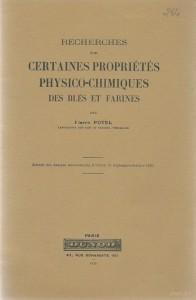 Recherches sur certaines propriétés physico-chimiques des blés et farines