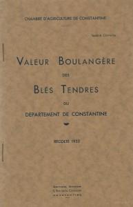 Valeur boulangère des blés tendres du département de Constantine, récolte 1933