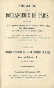 Annuaire de la boulangerie de Paris - 1879 -